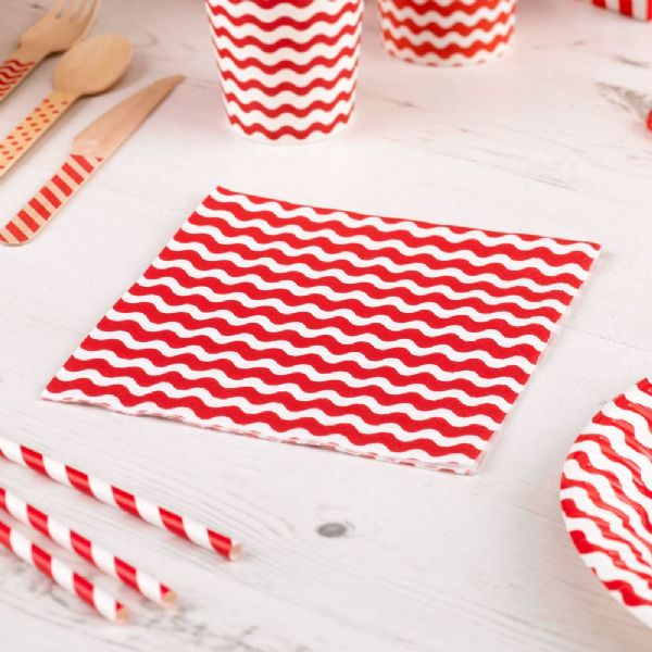 Carnival Red Napkins - Waves (20)